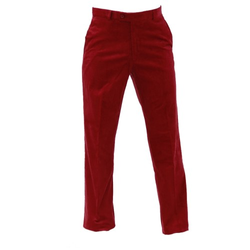 GREEN'S - PANTALON VELOURS - ROUGE