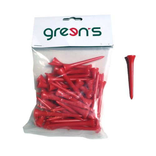 GREEN'S - 50 TEES PLASTIC 70MM - ROUGE