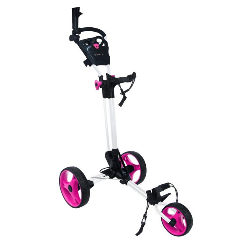 GREEN'S COMPACT GOLF TROLLEY WHITE/PINK