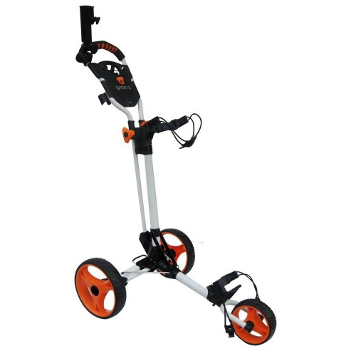 CHARIOT DE GOLF COMPACT GREEN'S - BLANC/ORANGE