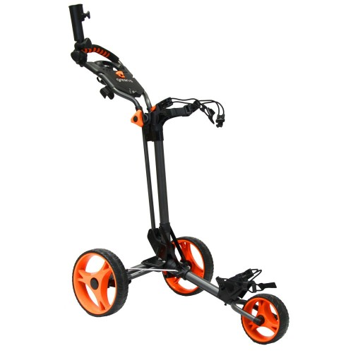CHARIOT DE GOLF COMPACT GREEN'S - CHARCOAL/ORANGE