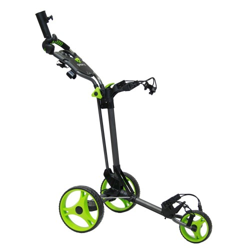 GREEN'S COMPACT GOLF TROLLEY WHITE/PINK - CHARCOAL/LIME